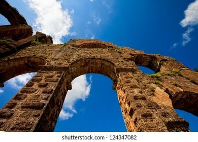 View up of aqueduct near Antalya Turkey
