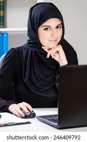 View of arabic woman in the office