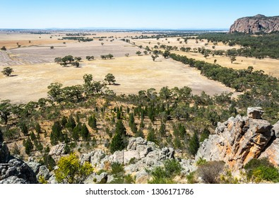 View of Arapiles plains from the summit of Mitre Rock in Victoria, Australia.