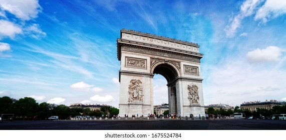 view of Arc de Triomphe landmark, Paris, France, web banner fomat, toned