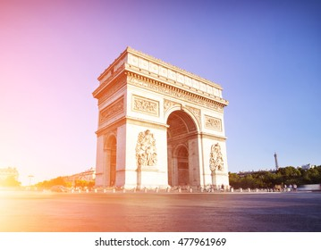 View of a Arc de triomphe in Paris during a sunny day, France