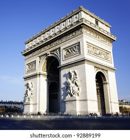 view of the Arc de Triomphe, Paris, France