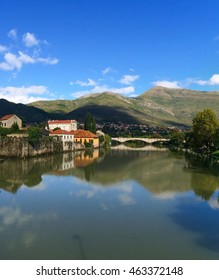 View of an Arch Bridge and Reflection in Trebisnjica River at Trebinje Old Town, Bosnia and Herzegovina