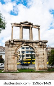 View of the Arch of Hadrian (Hadrian's Gate), a Roman triumphal arch, in Athens, Greece