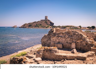 View of the archaeological site of Nora, Sardinia, Italy.