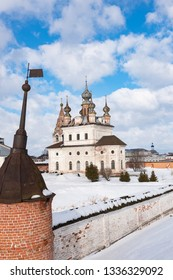 View of the Archangel Michael Cathedral from the ramparts in Yuryev-Polsky, Russia