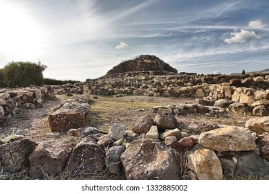 View of archeological nuragic complex of Su Nuraxi di Barumini. UNESCO World Heritage List