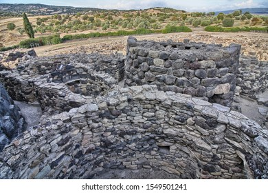View of archeological nuragic complex of Su Nuraxi di Barumini, Sardinia, Italy. UNESCO World Heritage List