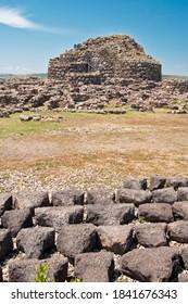 View of archeological nuragic complex of Su Nuraxi di Barumini. UNESCO World Heritage List