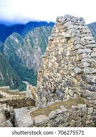 View of the archeological site of machu Pichu in Peru