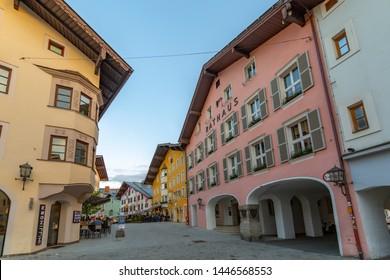 View of architecture and cafes on Hinterstadt, Kitzbuhel, Austrian Tyrol Region, Austria, Europe 1-5-2019