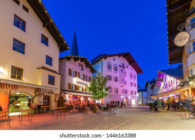 View of architecture and classic car on Hinterstadt at dusk, Kitzbuhel, Austrian Tyrol Region, Austria, Europe 1-5-2019
