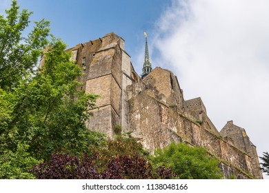 View of Architecture of Mont Saint Michel, an island in Brittany France. The island has held strategic fortifications since ancient times, since the 8th century AD has been the seat of the monastery.