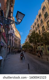 View of architecture on Calle Cava de San Miguel, Madrid, Spain, Europe 1-9-19