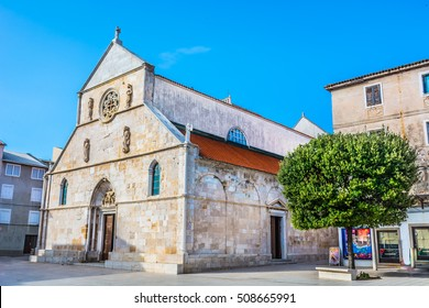 View at architecture of parish church in Pag town, Island Pag, Croatia Europe. / Parish church island Pag. / Selective focus.