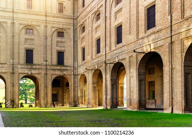 View of the archs of Pilotta palace in Parma, Emilia-Romagna, Italy. Parma landmark and architecture