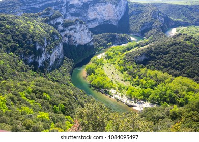 """View of Ardeche Gorges, locally known as the """"European Grand Canyon"""", France"""