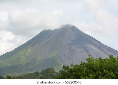 View of Arenal volcano cone from close distance, Costa Rica