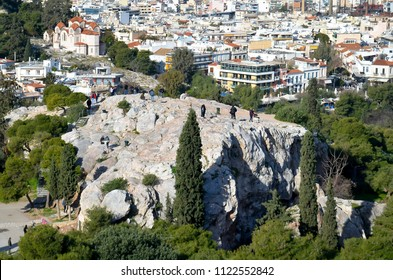 View of Areopagus Hill taken from The Acropolis in Athens, Greece
