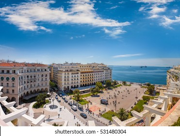 View of Aristotelous square, the heart of Thessaloniki city, Greece