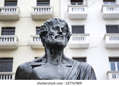 View of Aristotle ancient Greek philosopher and scientist statue, in Aristotelous Square at the northern Greek city of Thessaloniki.
