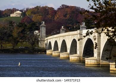 view of Arlington Memorial Bridge in Washington, DC, USA.