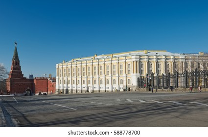 View of the Armoury Chamber (building was built in 1851) and Borovitskaya tower Kremlin, landmark