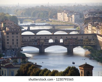 View of the Arno river with the bridges (Ponte Vecchio) in Firenze (Florence), Italy