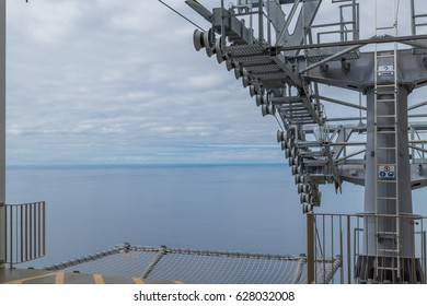 View from the arrival and depart of a cable car in Madeira island during a overcast day.