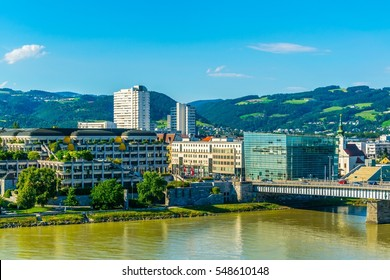View of the Ars Electronica museum of science in the Austrian city Linz.