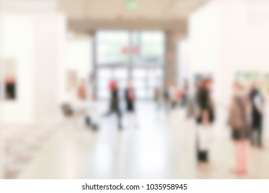 View of an art gallery. Background with an intentional blur effect applied.