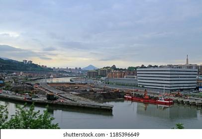 view of artificial peninsula Zorrozaurrein in the city Bilbao