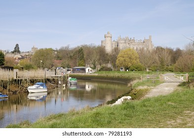 View of Arundel Castle from the river Arun. West Sussex. England