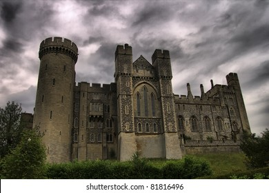 View of Arundel castle in Sussex, from the gardens, the castle established in 1068 by the Earl of Arundel.