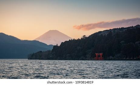 View of Ashi lake and Fuji mountain and Torii gate at Hakone