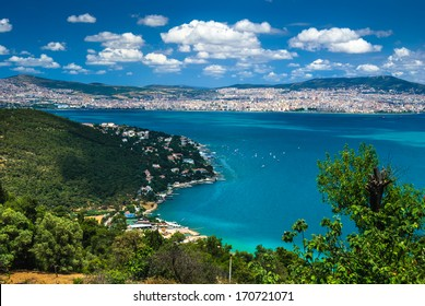 View of Asian Side of Istanbul, from Buyukada Island, with Marmara Sea landscape.