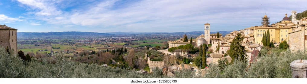 View from Assisi, Umbria, Italy. Panorama