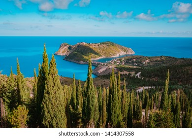 View of Assos peninsula and Assos castle in Kefalonia, Greece