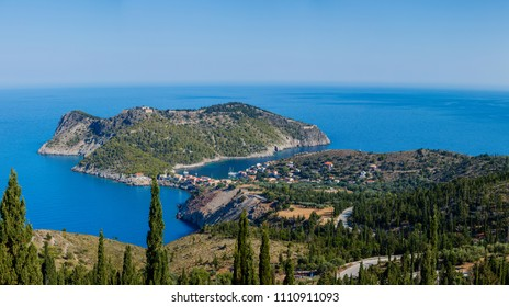 View of Assos village and beautiful sea bay, Kefalonia island, Greece