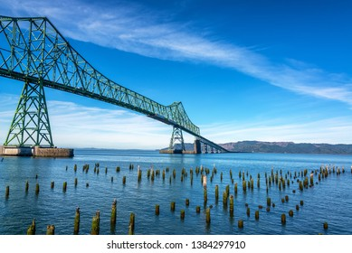 View of the Astoria Megler Bridge crossing the mighty Columbia River in Astoria, Oregon