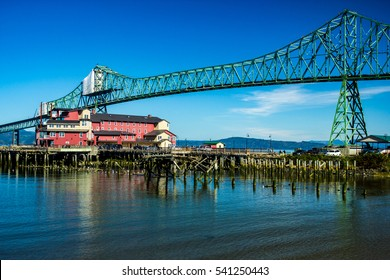 View of Astoria-Megler Bridge and Cannery Pier Hotel, Astoria, Oregon