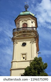 View of the Astronomical Tower at the Klementinum in Prague, Czech Republic.