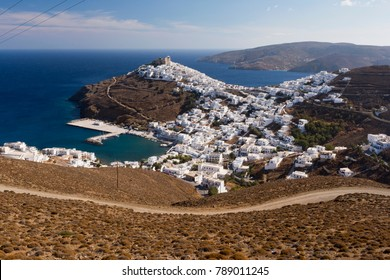 View of Astypalaia (Chora Astypalea) and its white houses. Astypalaia, Greek island