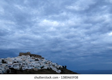 A view of Astypalaia on a cloudy day.