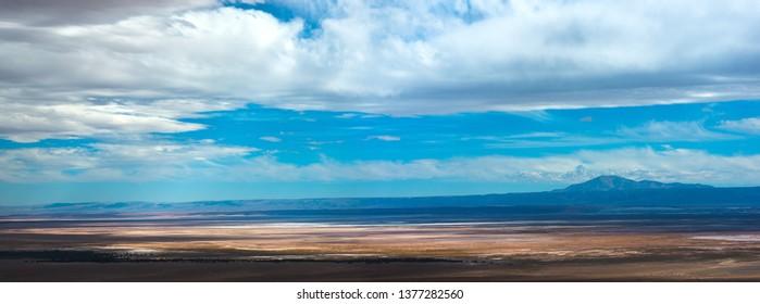 View of The Atacama Salt Lake (Salar de Atacama) in the Atacama Desert, Chile