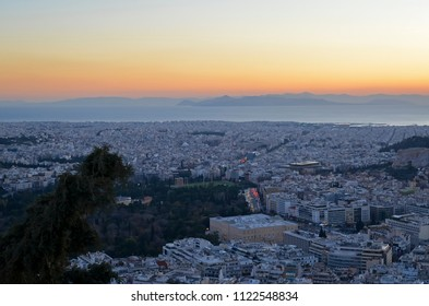 View of Athens, Greece from Lycabettus Mountain at Sunset