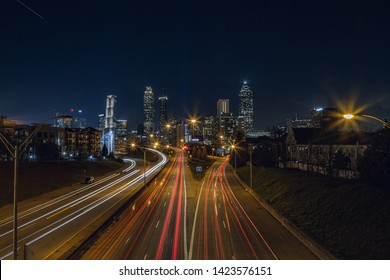 The view of Atlanta City from Jackson Street Bridge at night.