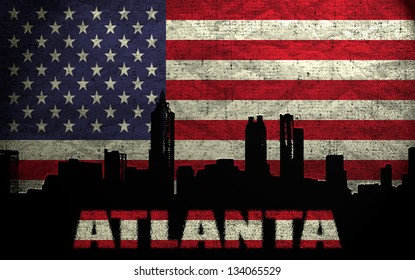View of Atlanta City on the Grunge American Flag