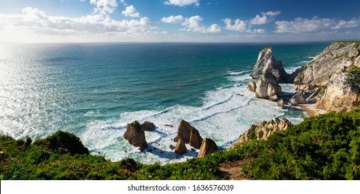 View of Atlantic Coast at Portugal, Cabo da roca. Summer day, panorama