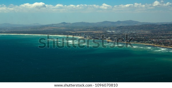 View of atlantic ocean and Gordon's Bay, Western Cape, South Africa